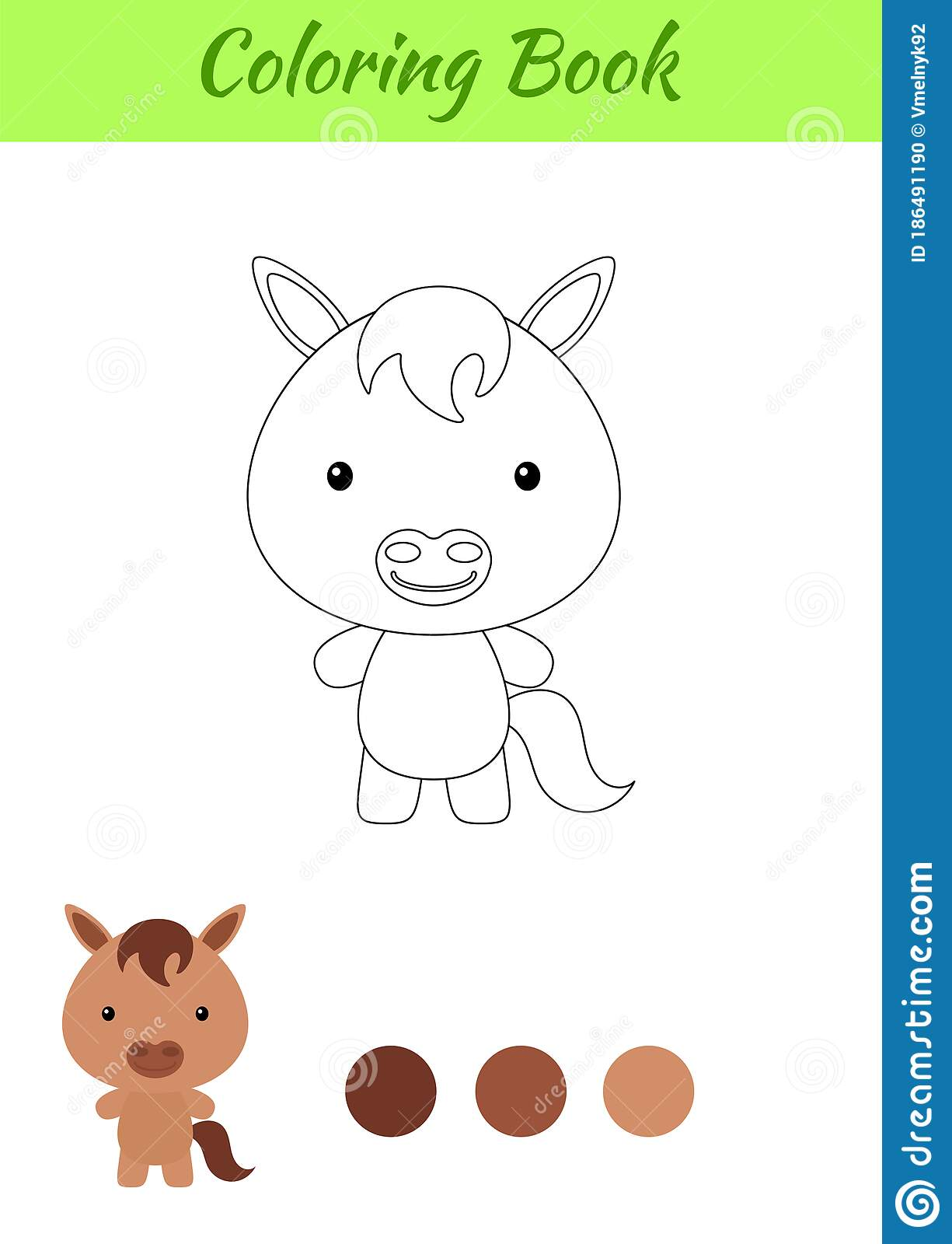 Coloring Page Happy Little Baby Horse Coloring Book For Kids Educational Activity For Preschool Years Kids And Toddlers With Stock Vector Illustration Of Coloring Color 186491190