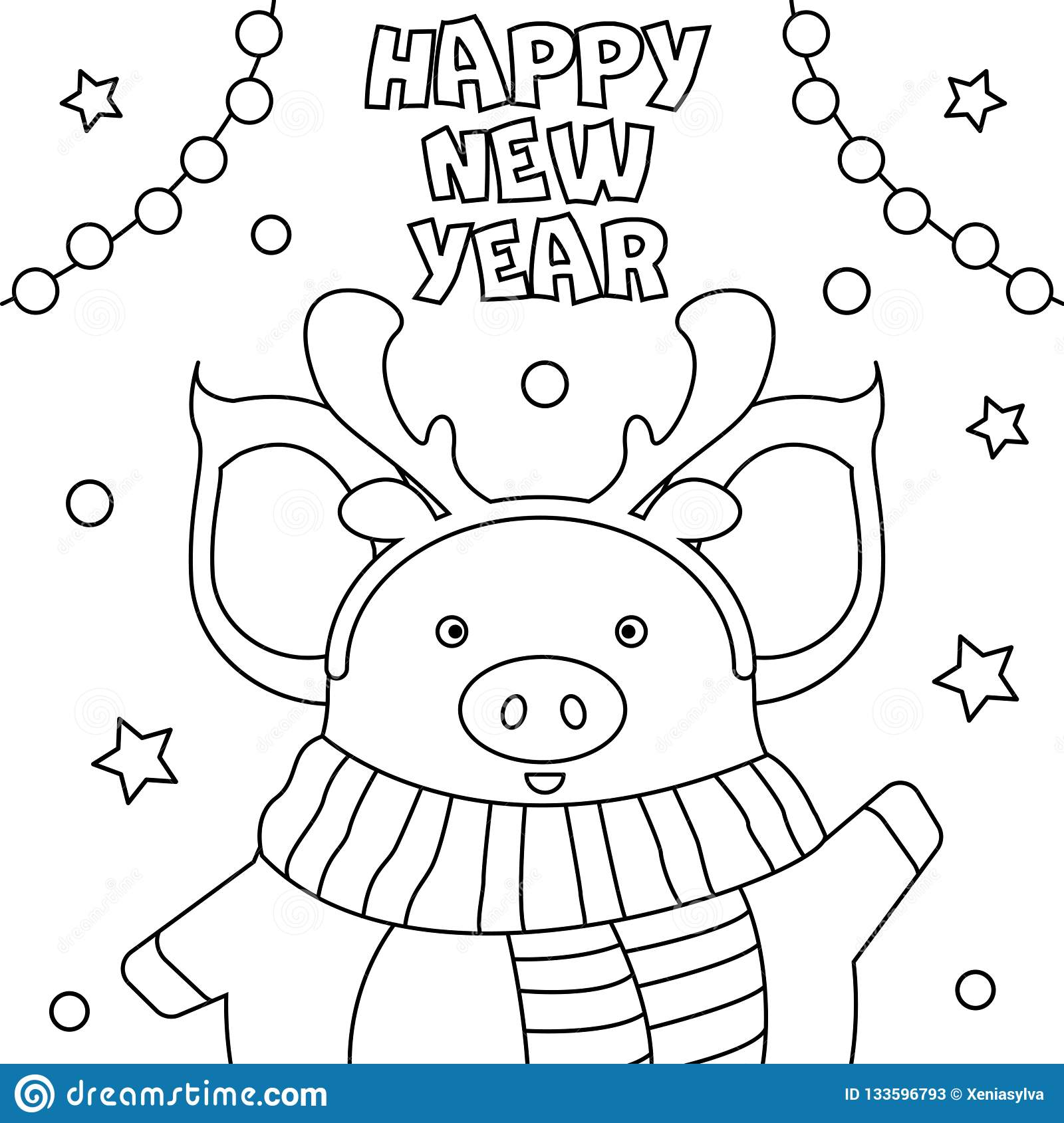 Coloring Page `Happy New Year`. Stock Vector ...