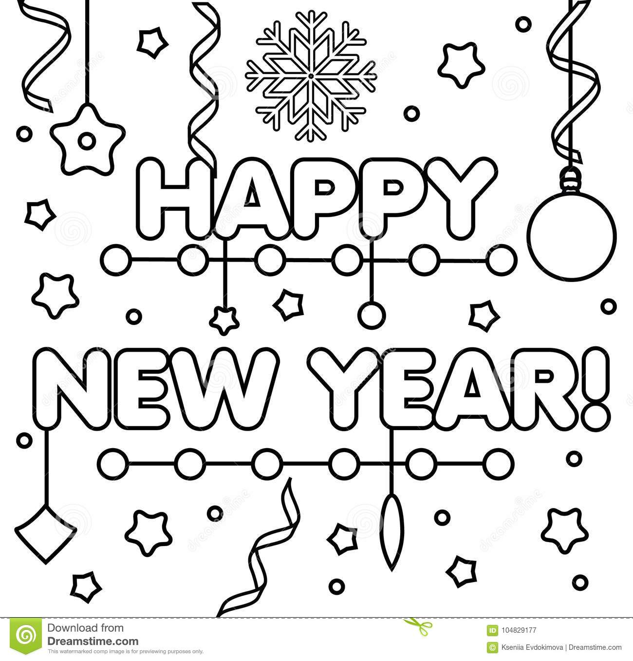 coloring page with happy new year text drawing kids game printable activity diy greeting card