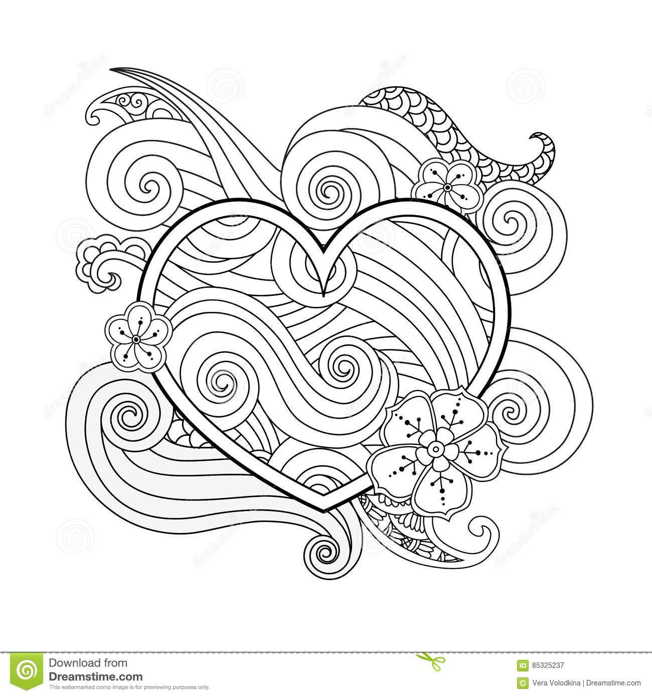 Coloring Page With Heart And Abstract Element Isolated ...