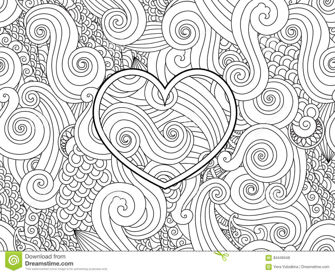 Coloring Page With Heart And Asian Wave Curl Ornament. Happy ...
