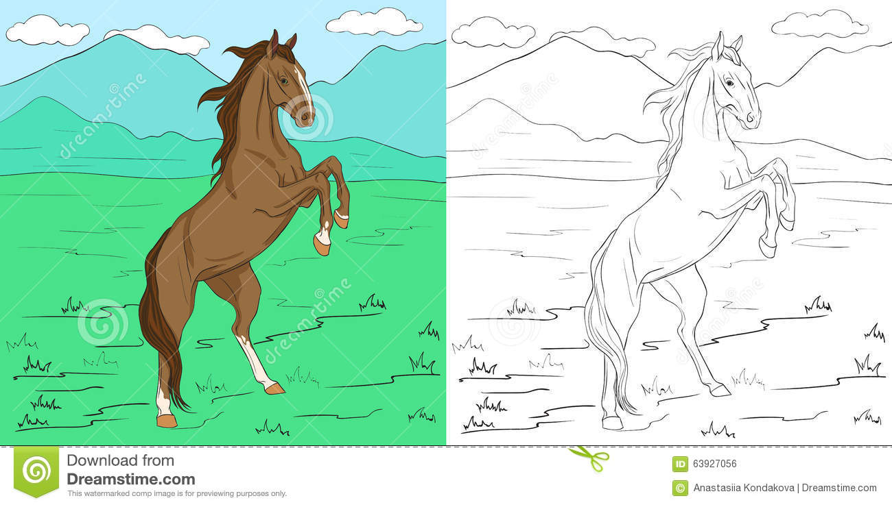 Coloring page with horse stock vector. Illustration of mane - 63927056