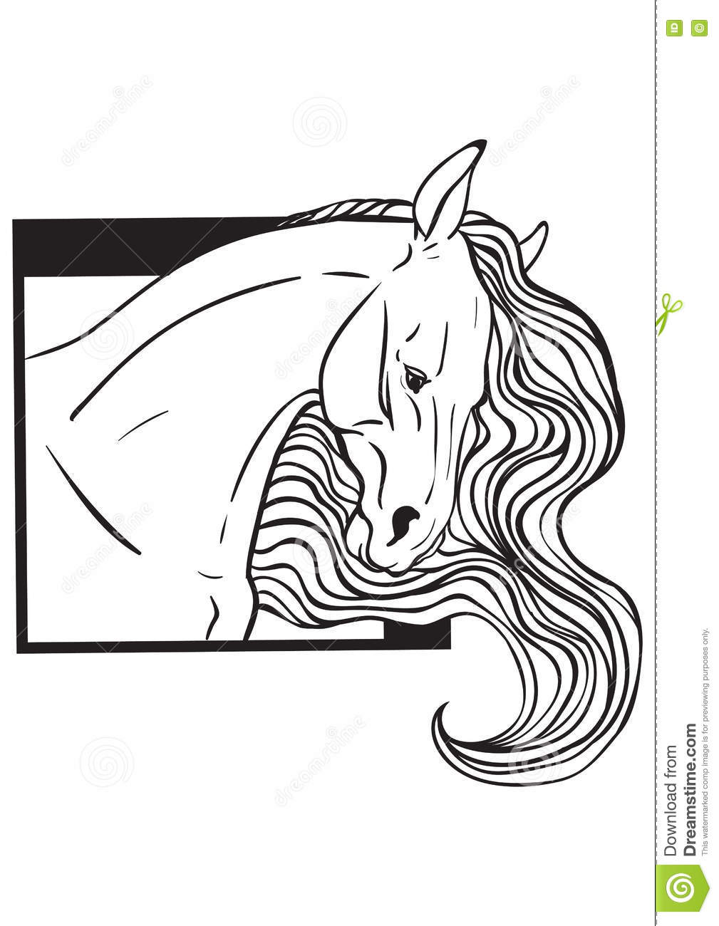 Coloring Page With Horse Portrait Stock Vector - Illustration of ...