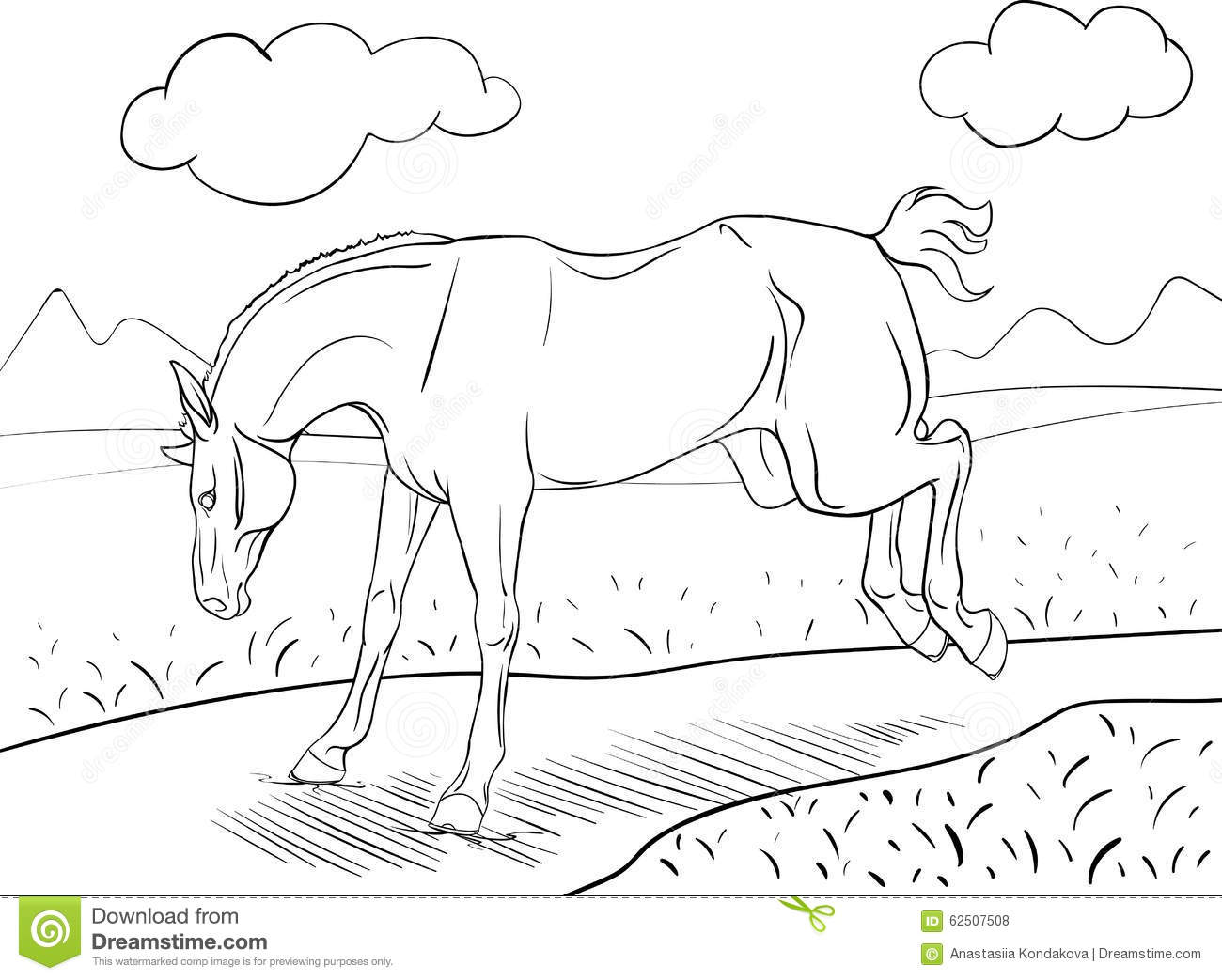 coloring page with a horse stock illustration image 62507508