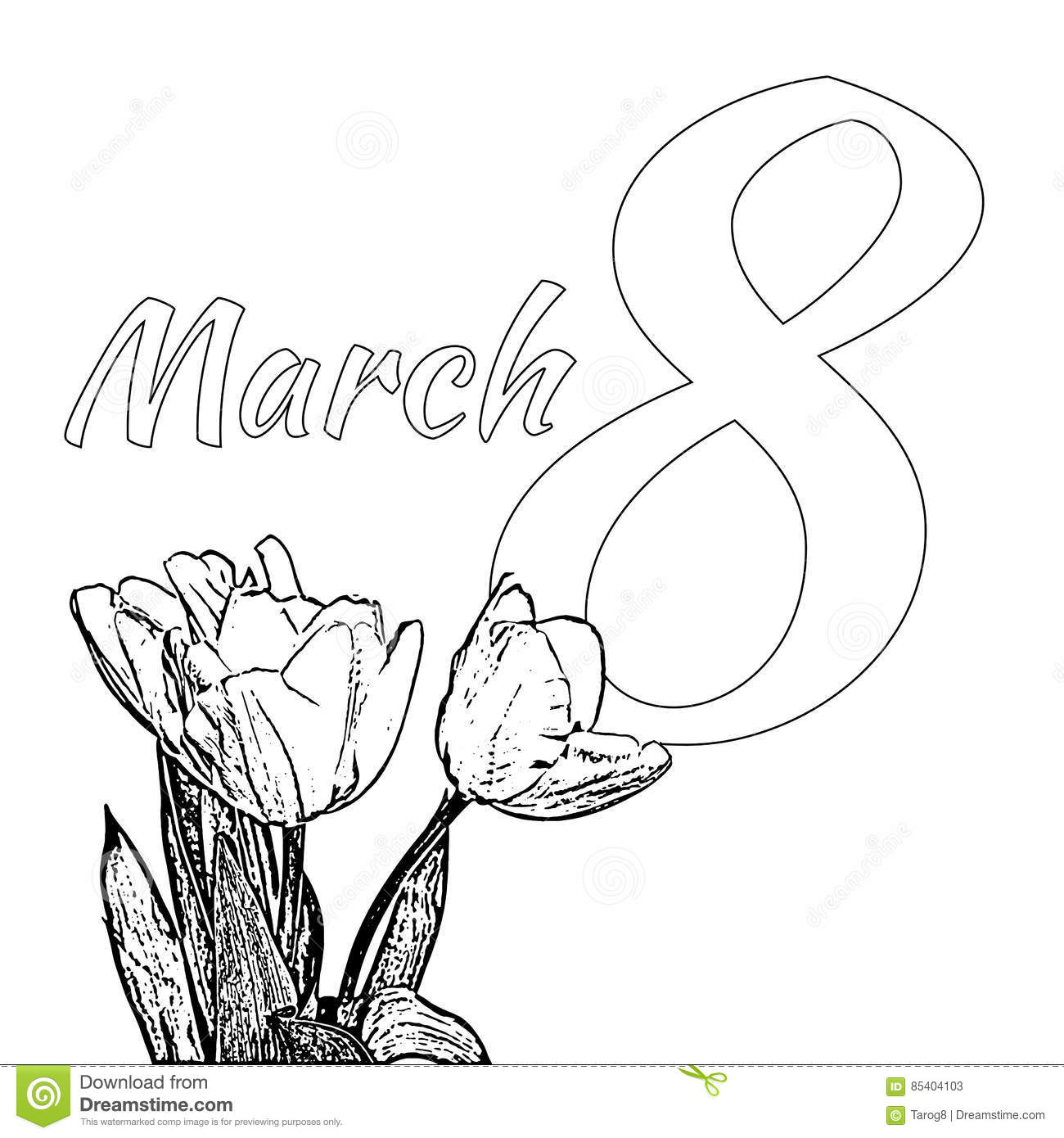 coloring page for international happy women s day c with bouquet