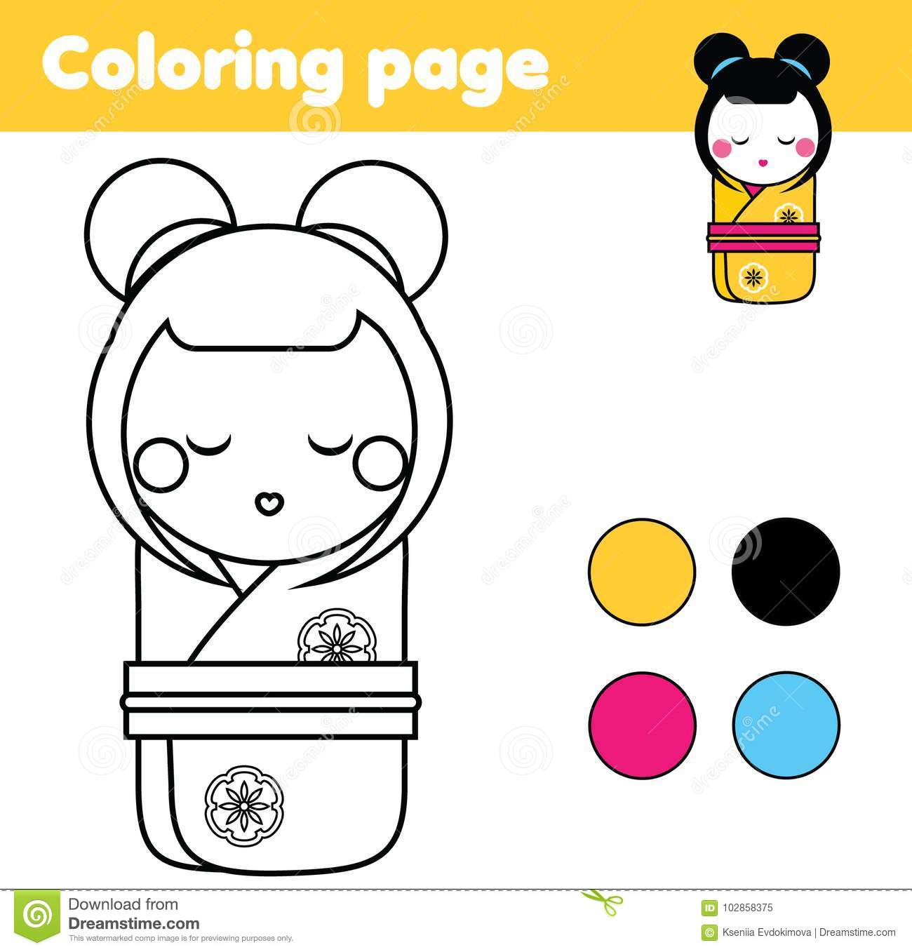 coloring page with japanese kokeshi doll drawing kids game