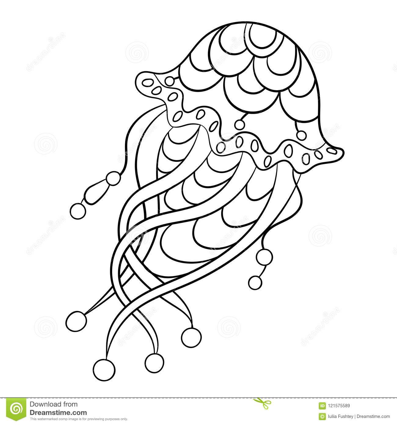 Coloring Page With Jellyfish In Ornamnets Vector Illustration