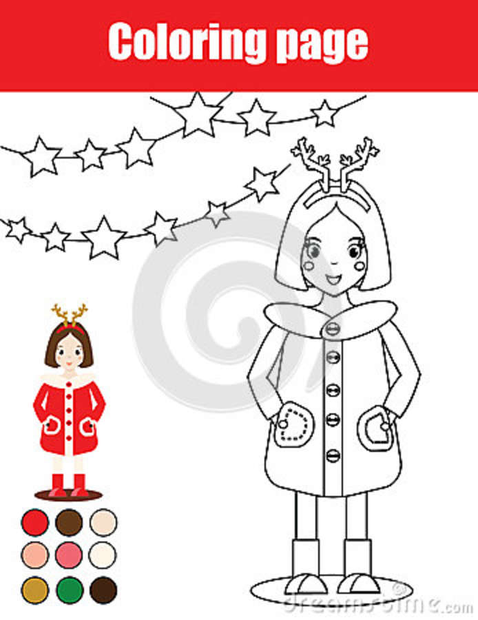 Coloring Page With Kid Girl Children Educational Game Drawing