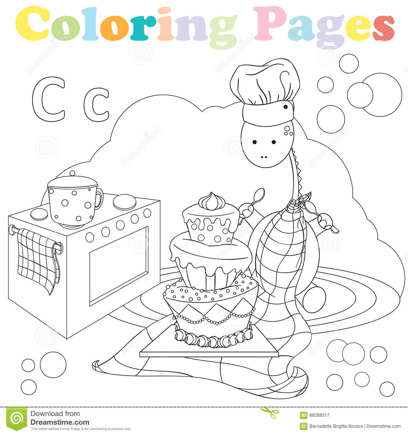 Kitchen Set Letter L: Coloring Page For Kids ,alphabet Set,letter C Stock Vector