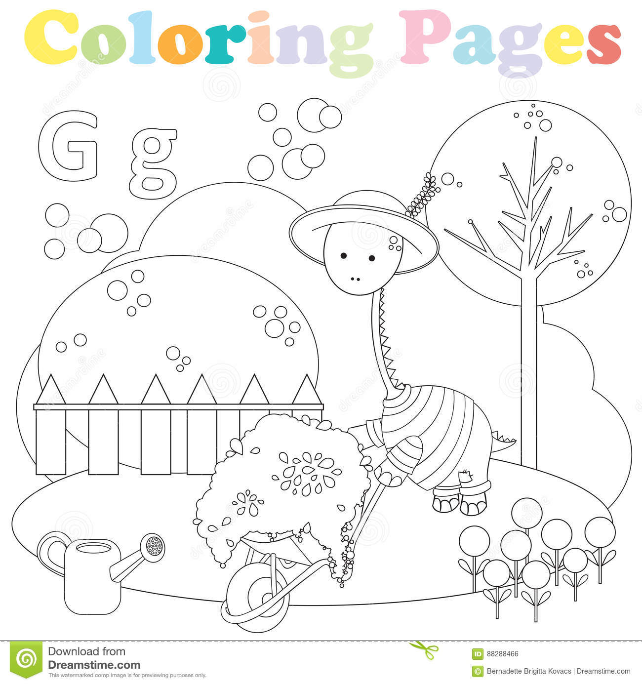 coloring page kids alphabet set letter g cute dinosaur yard gardening
