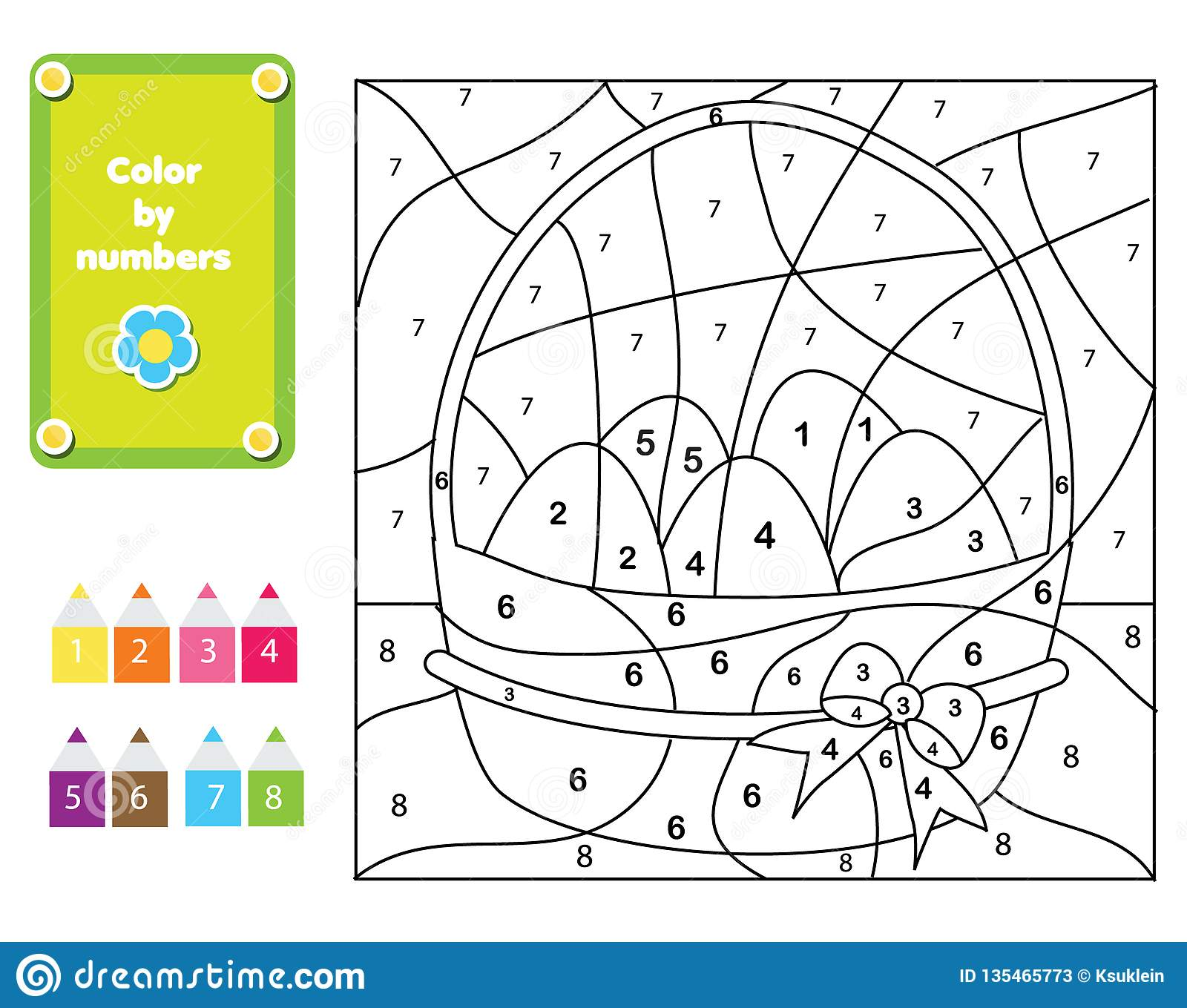 Coloring Page For Kids Educational Children Game Color By Numbers Easter Eggs Stock Vector Illustration Of Easter Contour 135465773