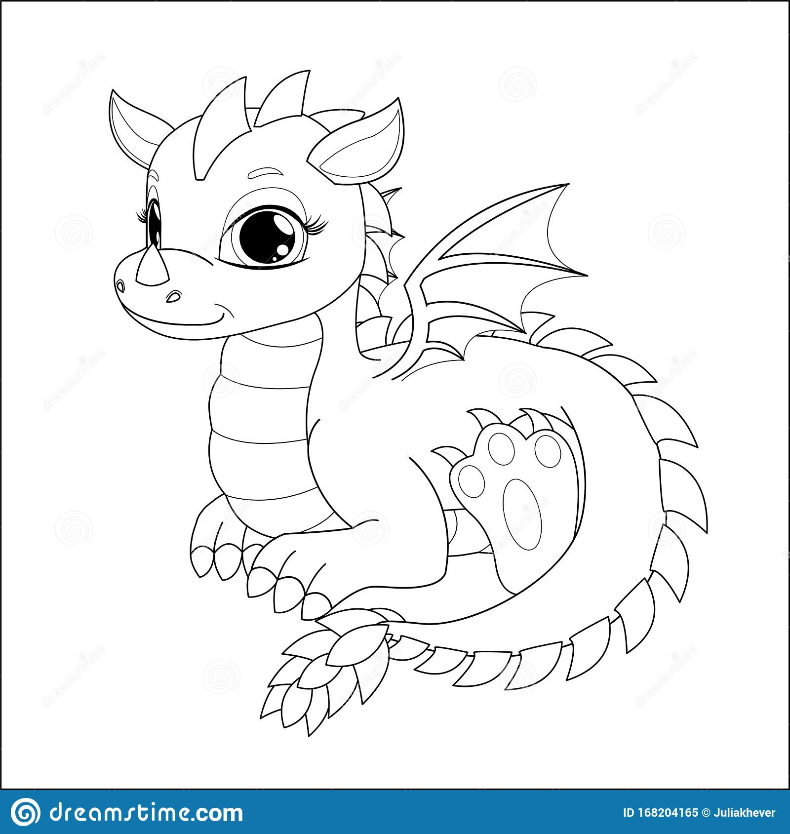 Coloring Page For Kids With Funny Cartoon Dragon Stock Vector