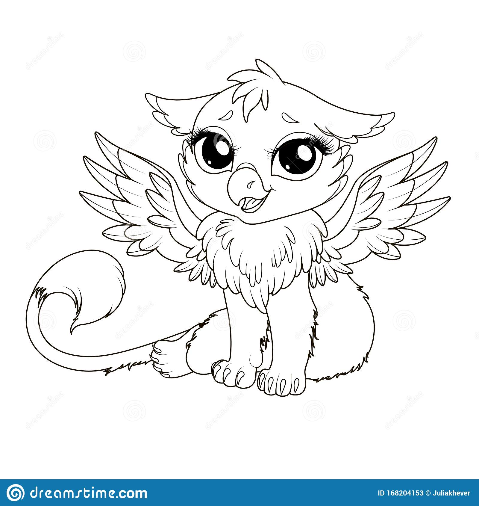 Coloring Page For Kids With Funny Cartoon Griffin Stock Vector Illustration Of Children Design 168204153