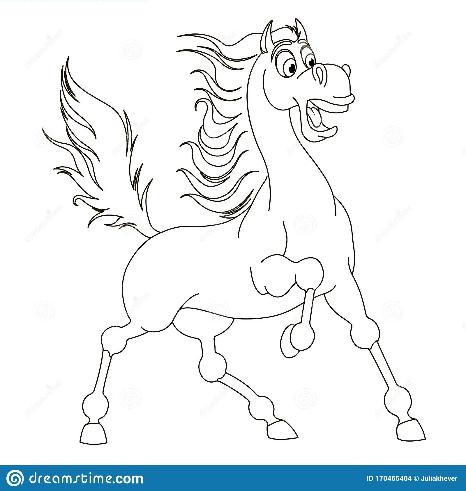 Cute Hand Drawn Fearing Horse Drawing Contour For Coloring Stock Vector Illustration Of Page Contour 170465404