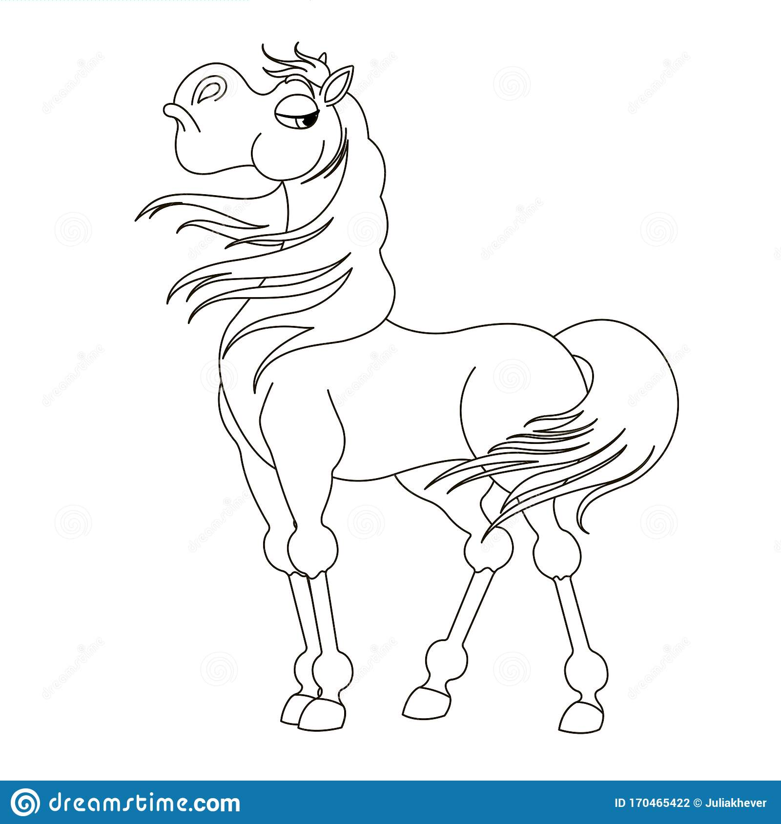 Cute Hand Drawn Proud Horse Drawing Contour For Coloring Stock Vector Illustration Of Graphics Coloringpage 170465422