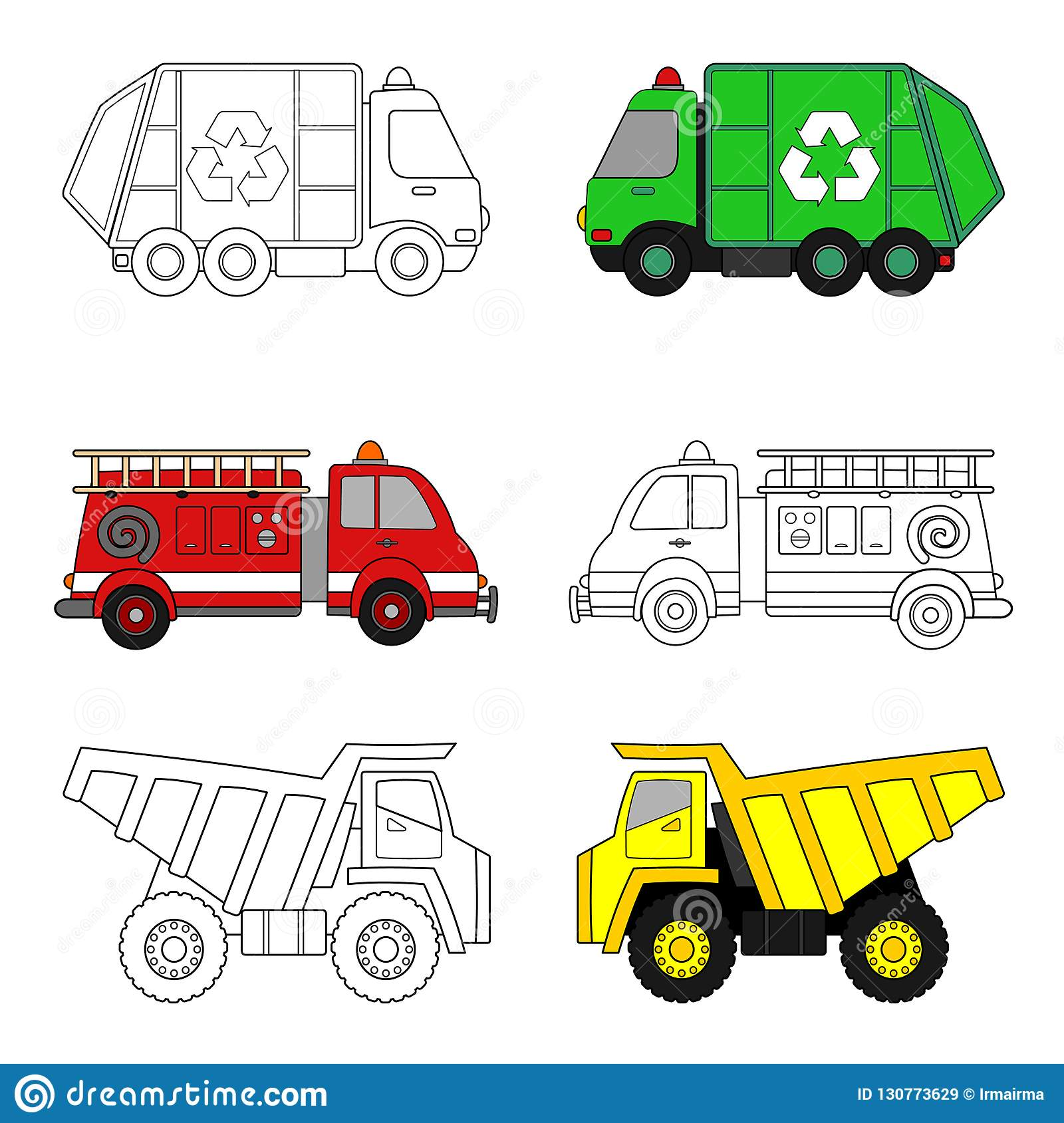 Trucks Coloring Page Stock Vector Illustration Of Vehicle 130773629