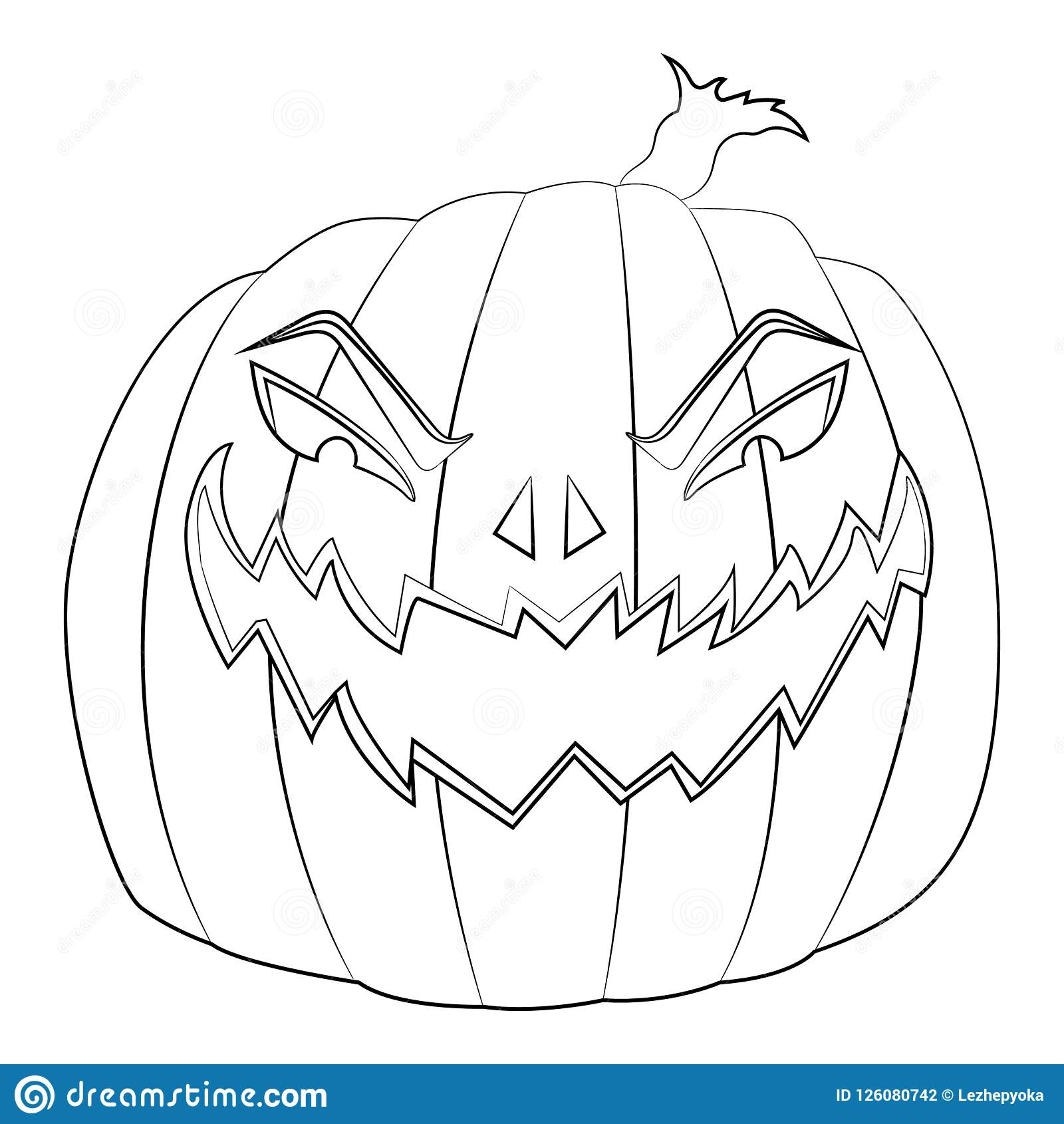 Coloring Page For Kids With Halloween Evil Pumpkin Stock Vector