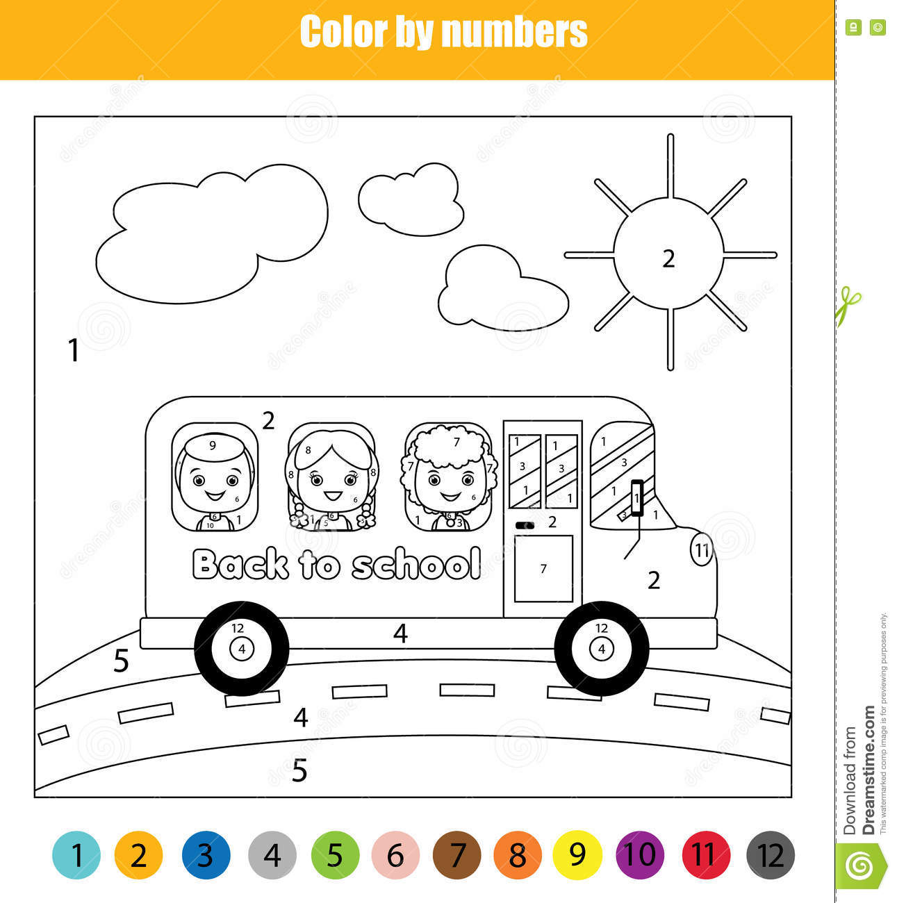 coloring page with kids in bus color by numbers children