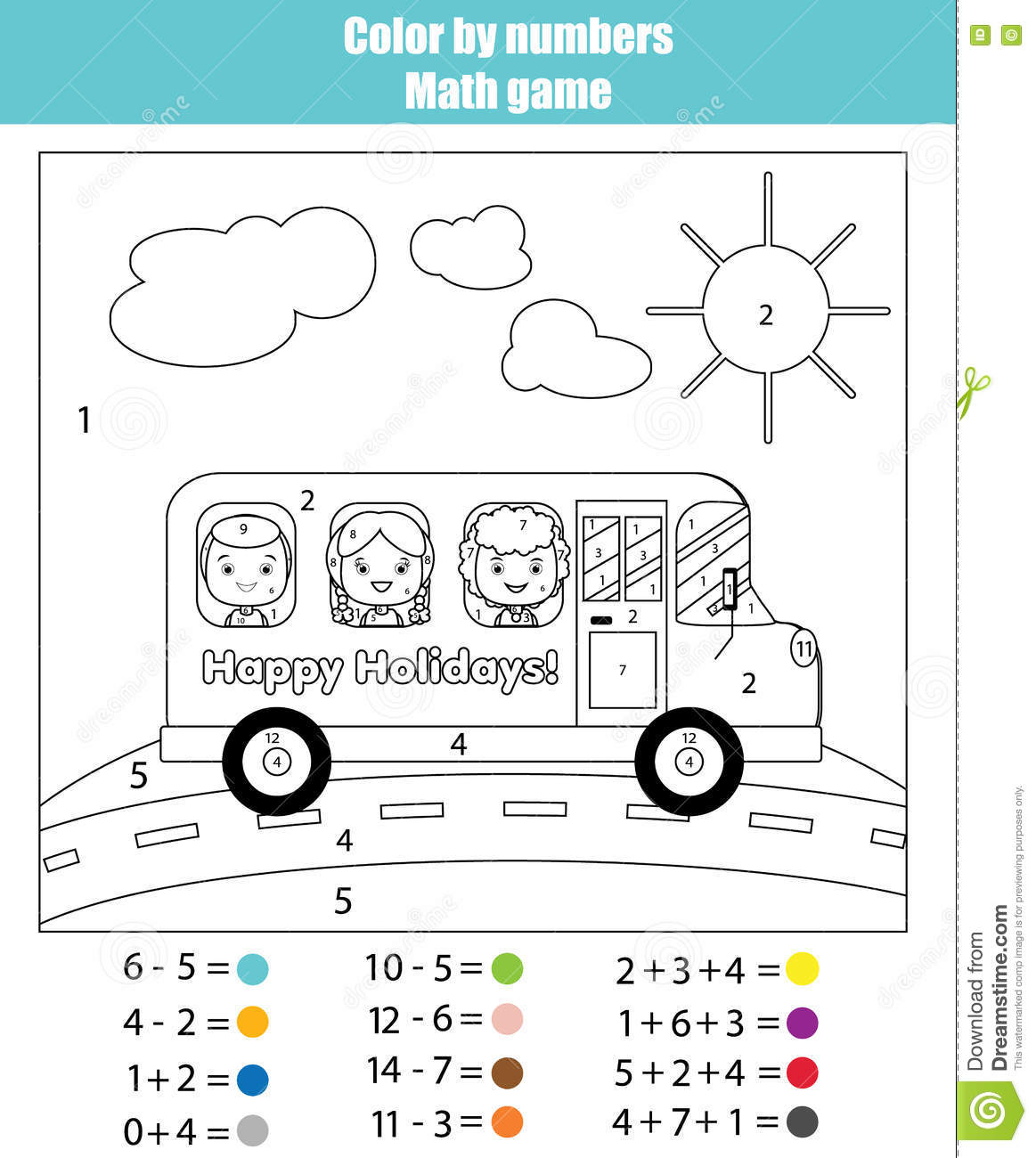 Coloring Page With Kids In School Bus. Color By Numbers Math Game ...