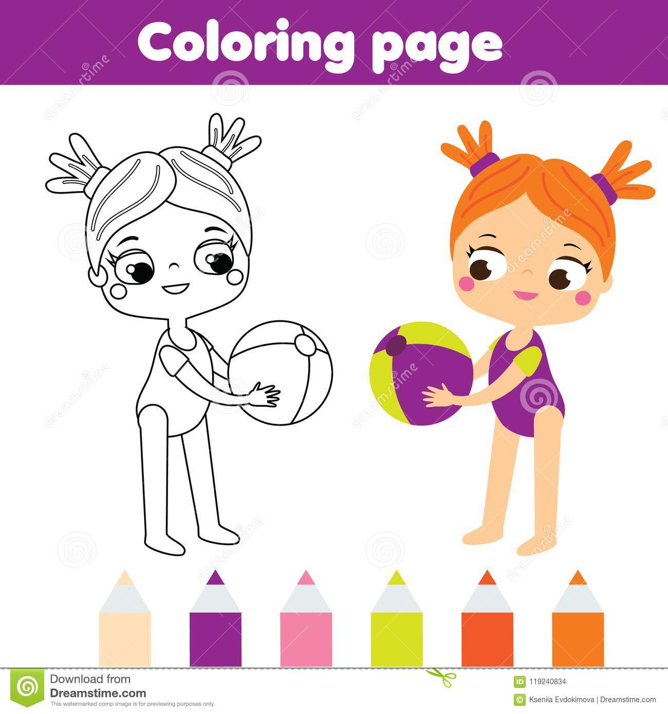 Coloring Page For Kids. Summer Holidays Theme. Girl With Beach Ball ...