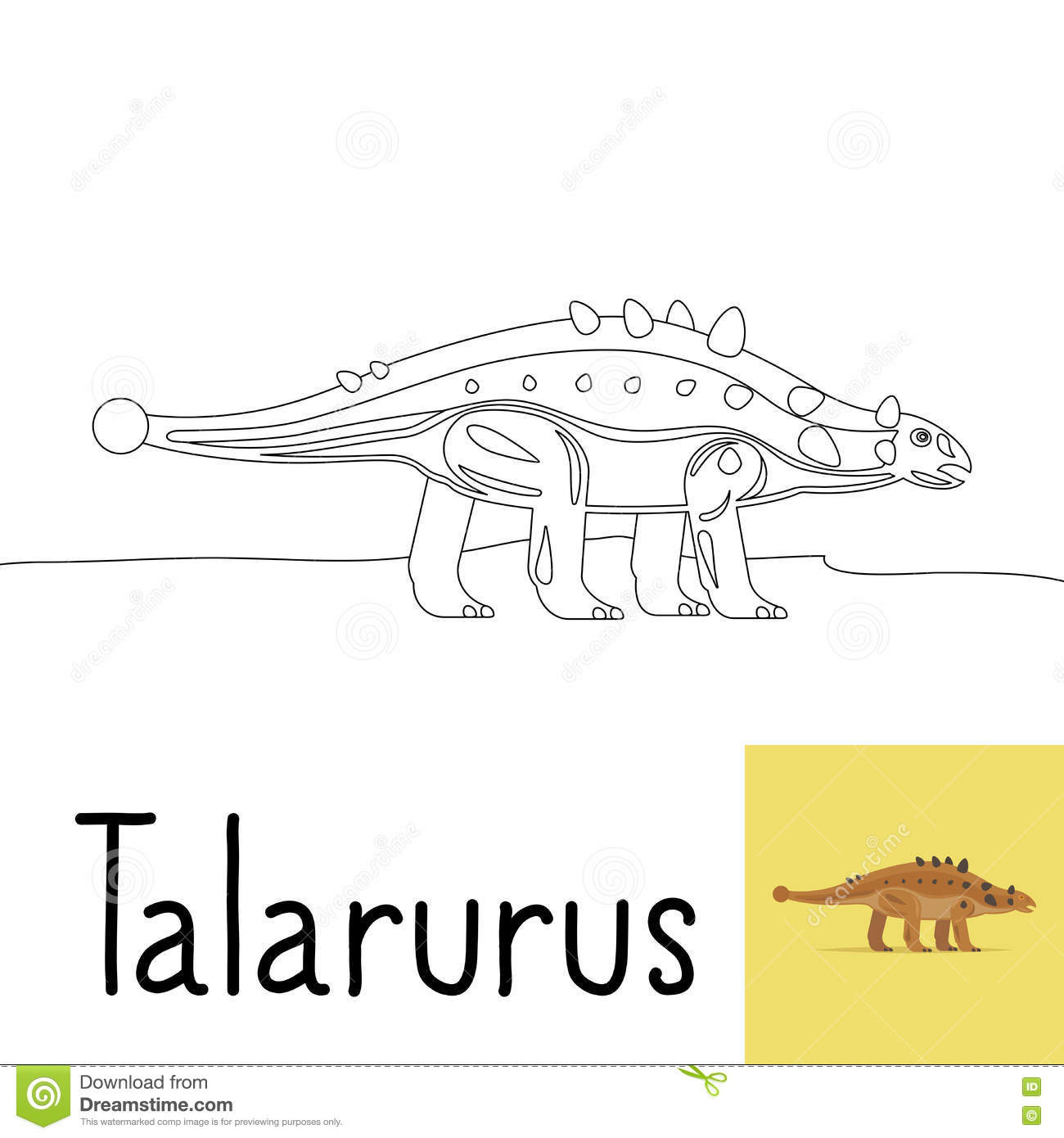 coloring page kids talarurus dinosaur colored preview vector illustration