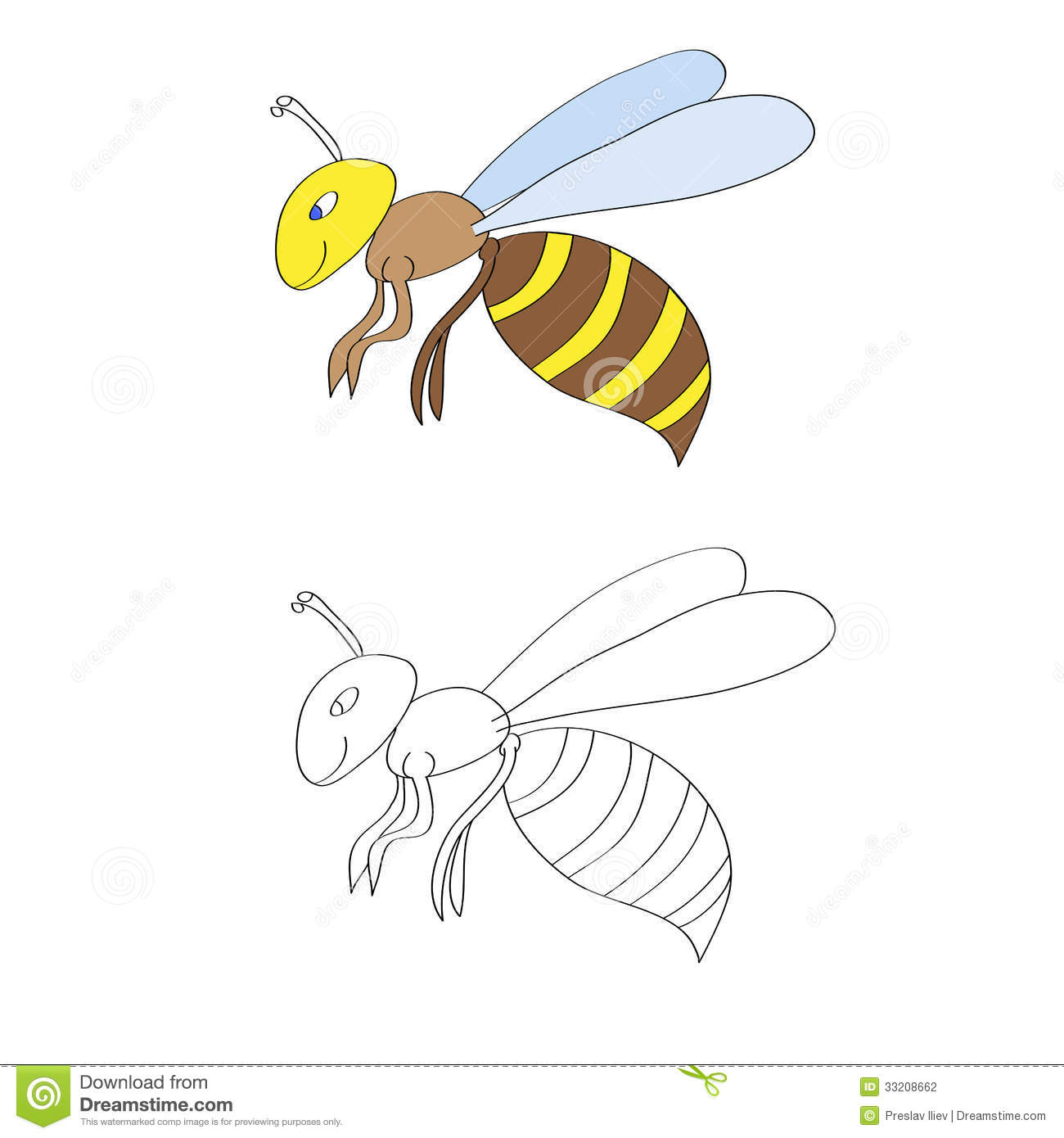 Vector Image Of Coloring Page For Kids With Two Smiling Wasps On White