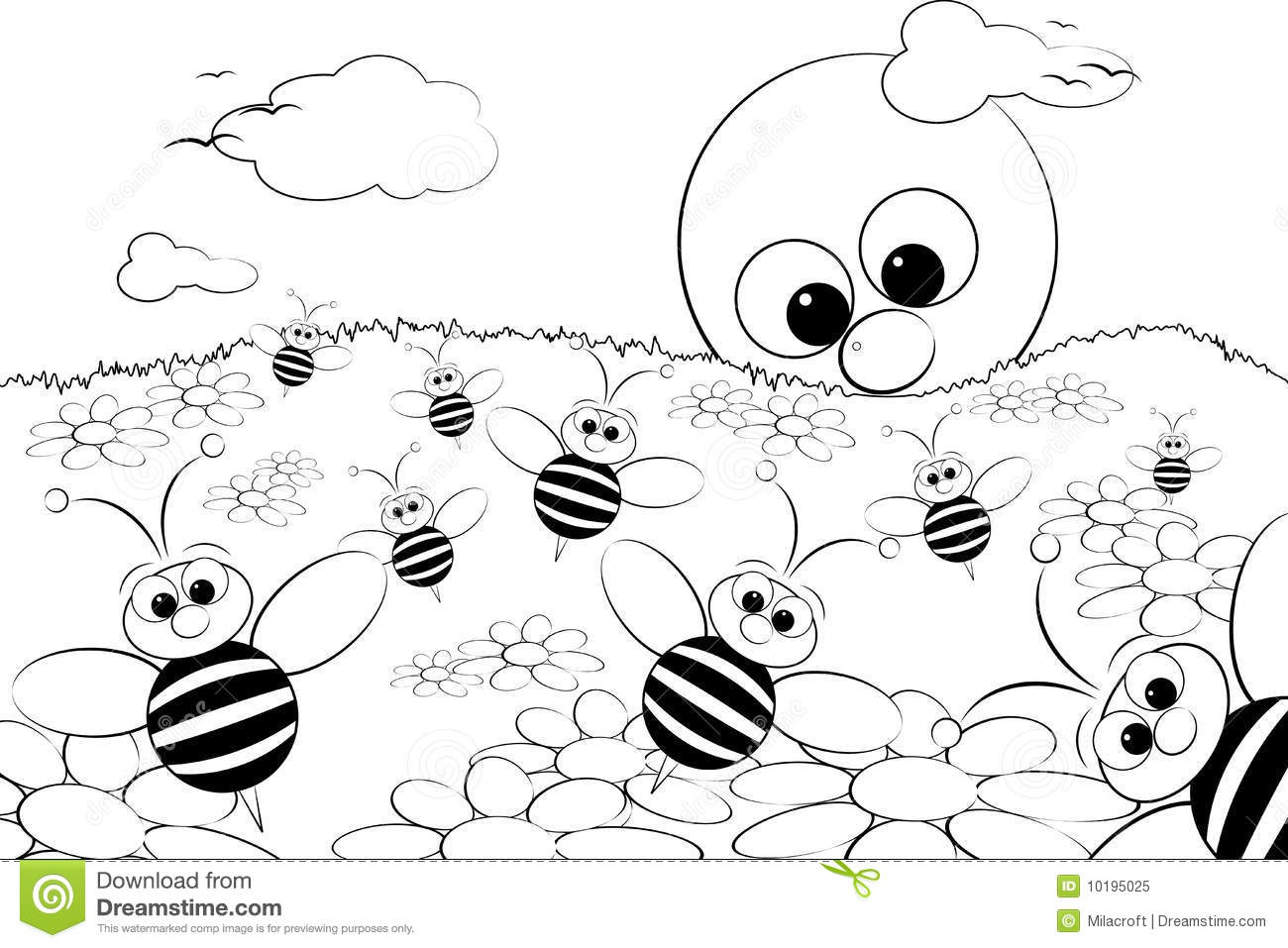 Coloring Page Landscape - Coloring page landscape with sun and bees