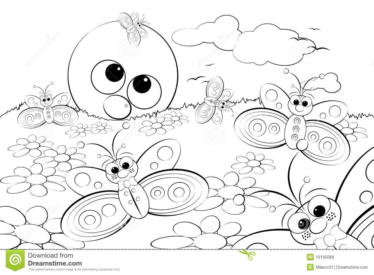 Coloring Page Landscape - Coloring page landscape with sun and butterflies