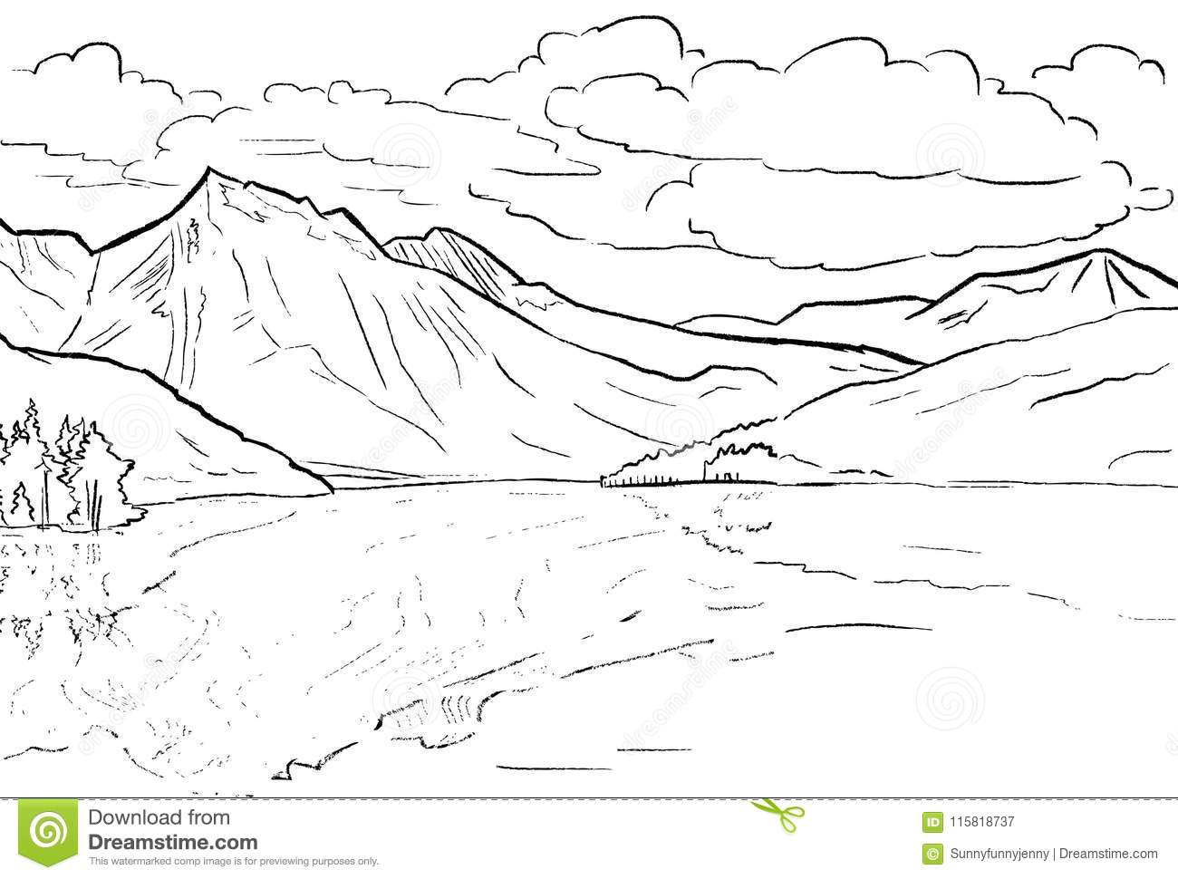 Coloring Page Line Art - Nature Mountains Stock Vector ...
