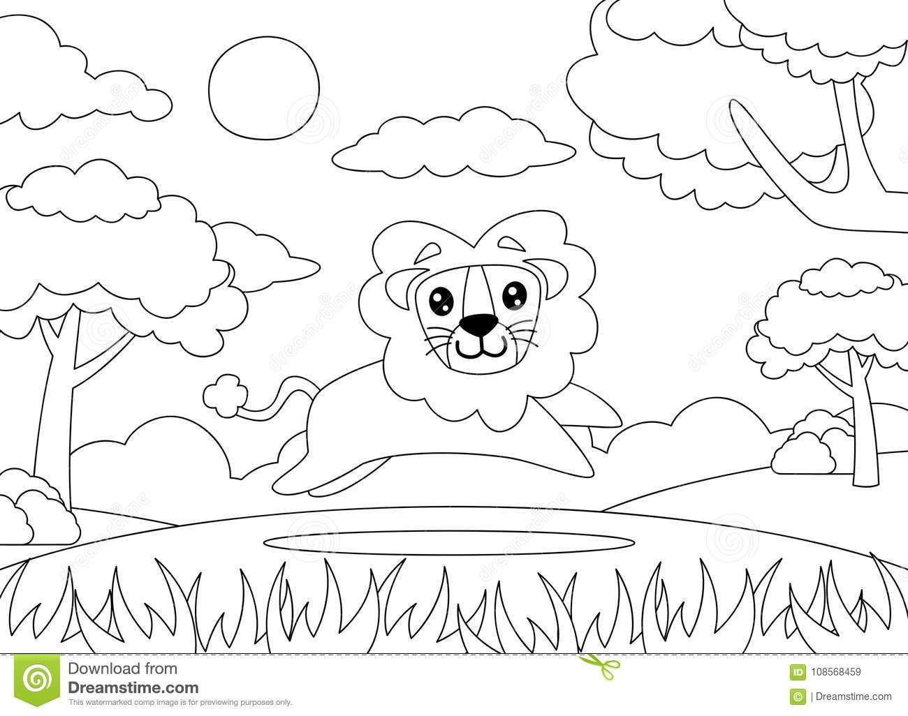 Coloring Page Of A Lion Running Happily. Stock Vector - Illustration ...
