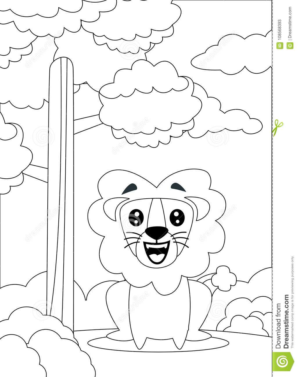Coloring Page Of A Lion Sit And Smiling. Stock Vector - Illustration ...