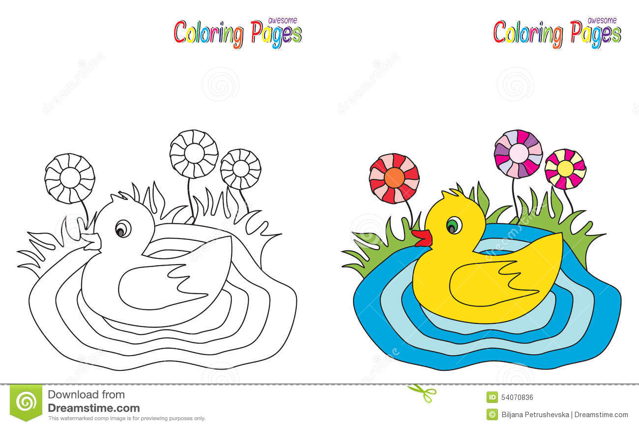 Coloring Page Little Duck stock
