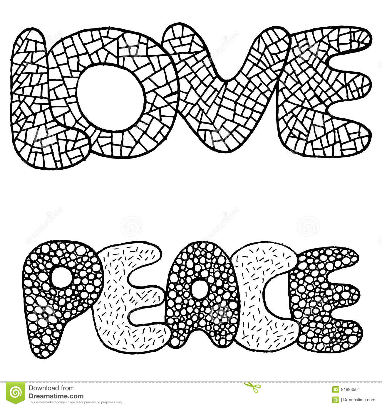 coloring page with love and peace word stock vector image 91893504