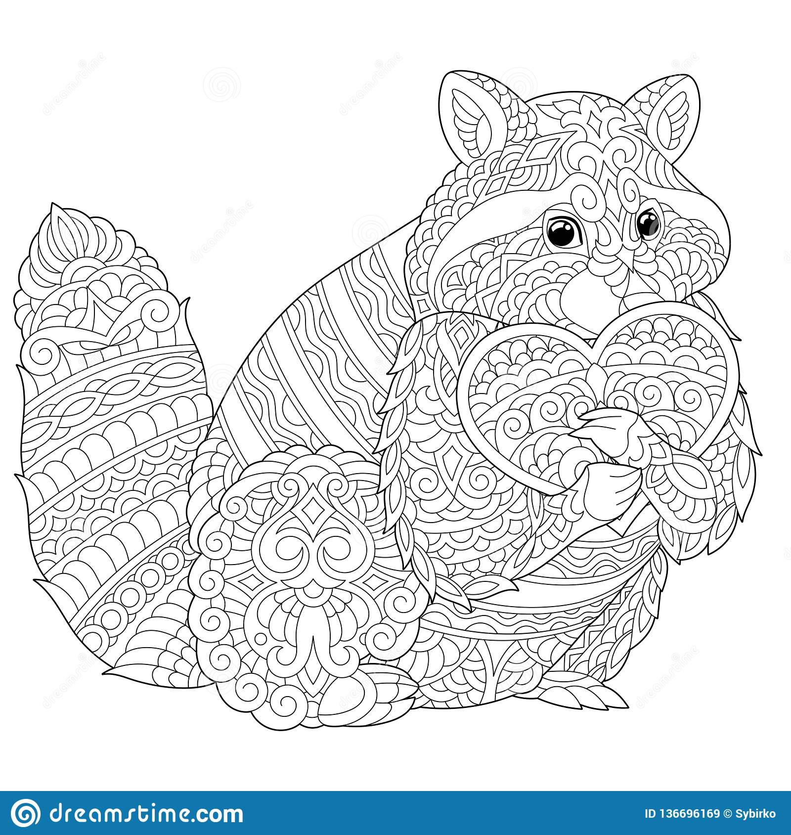 Zentangle Raccoon Coloring Page Stock Vector Illustration Of Fauna Forest 136696169