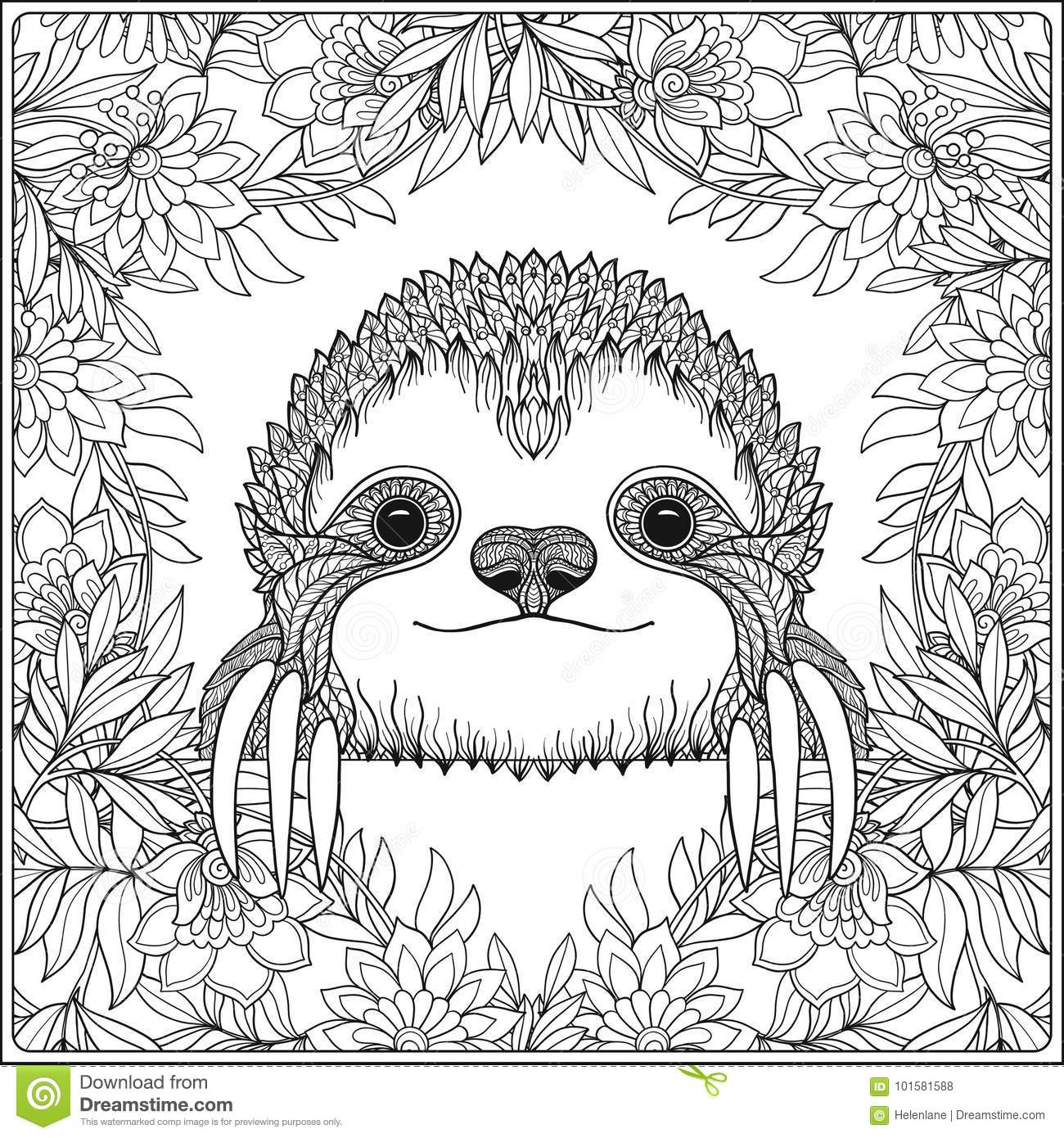 - Coloring Page With Lovely Sloth In Forest. Stock Illustration