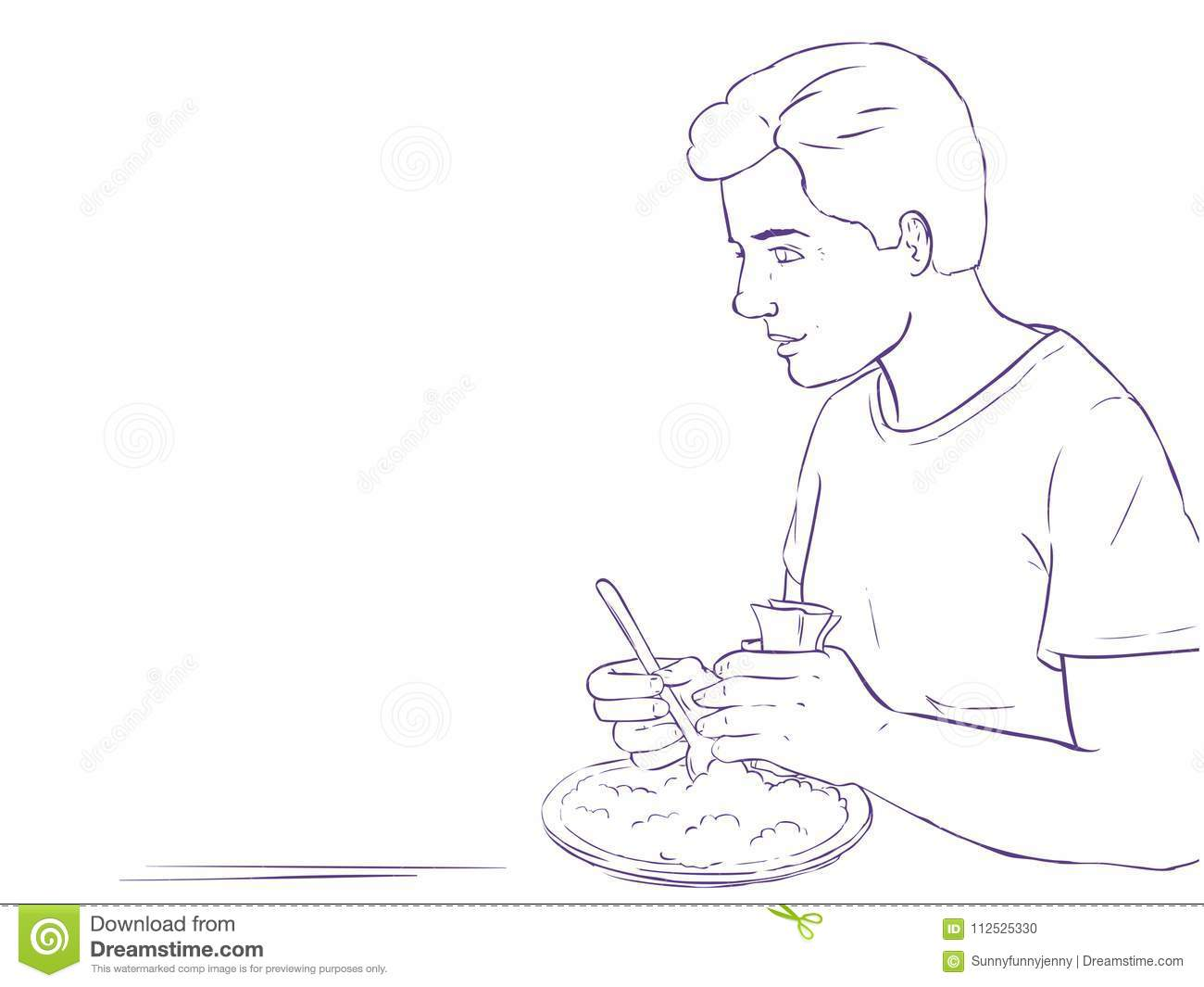 coloring page man eating background frame tex line art text menu