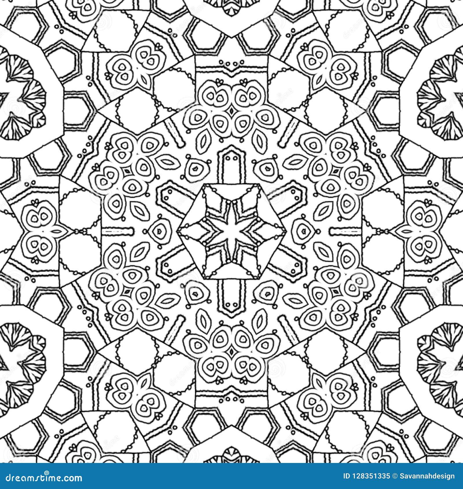 Coloring Page Mandala Star Ornament Stock Illustration