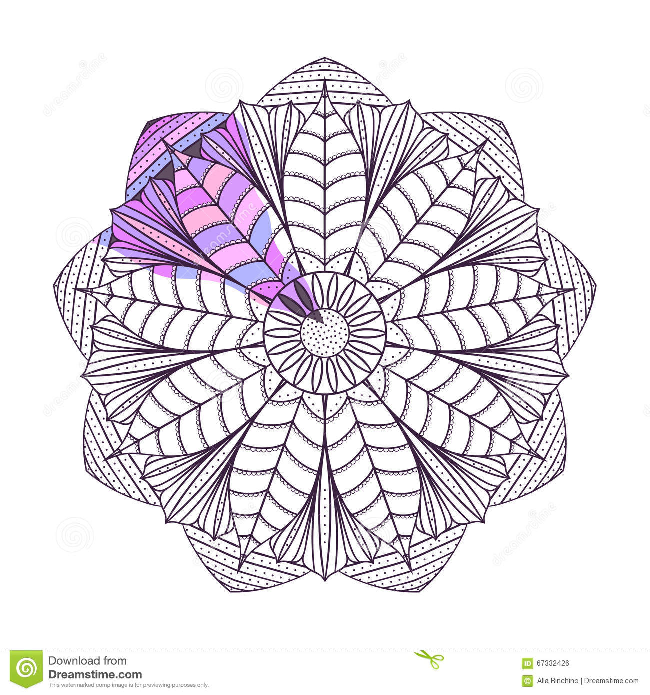 Coloring Page With Mandala2 Stock Vector Illustration Of Hand