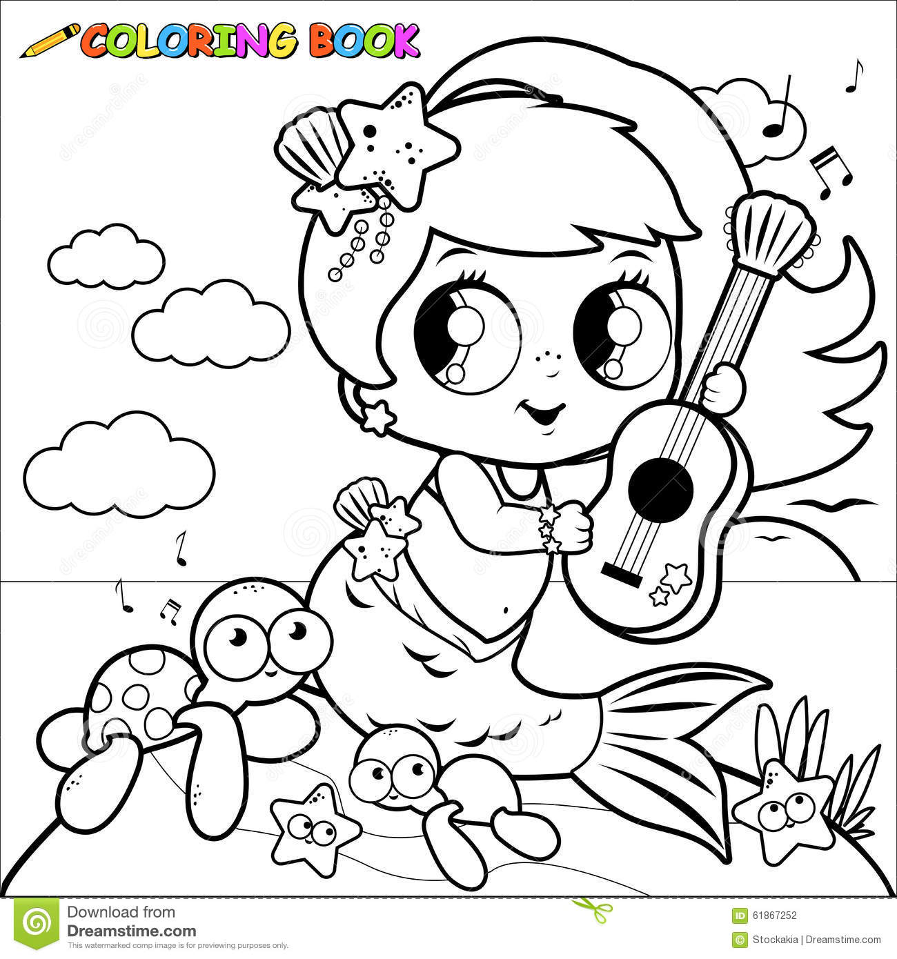 coloring page mermaid by the sea playing music with her guitar