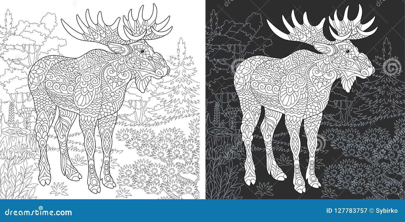 Vector Zentangle Christmas Reindeer Horned Elk Stock-Vektorgrafik ... | 878x1600