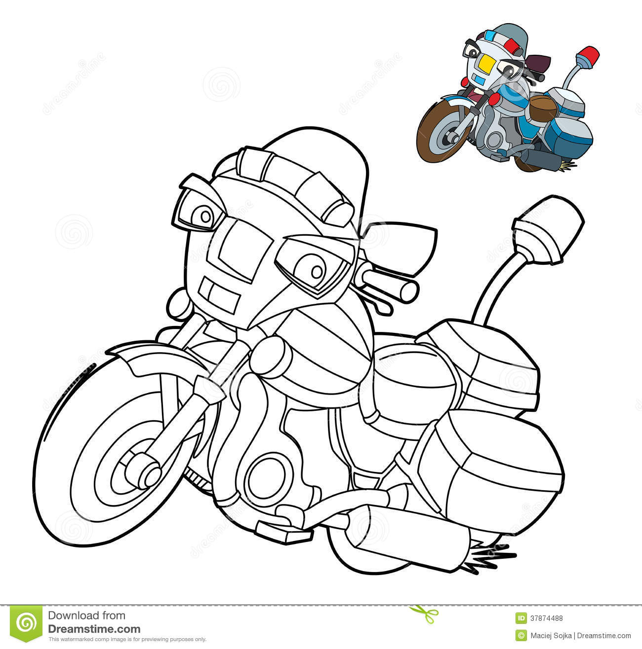 Coloring Page - Motorcycle - Illustration For The Children Stock ...