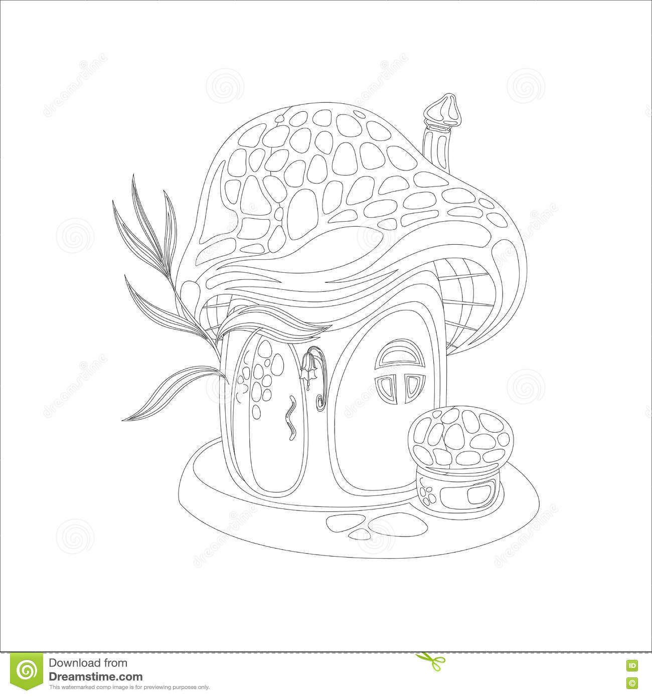 Coloring Page With Mushroom House Stock Vector