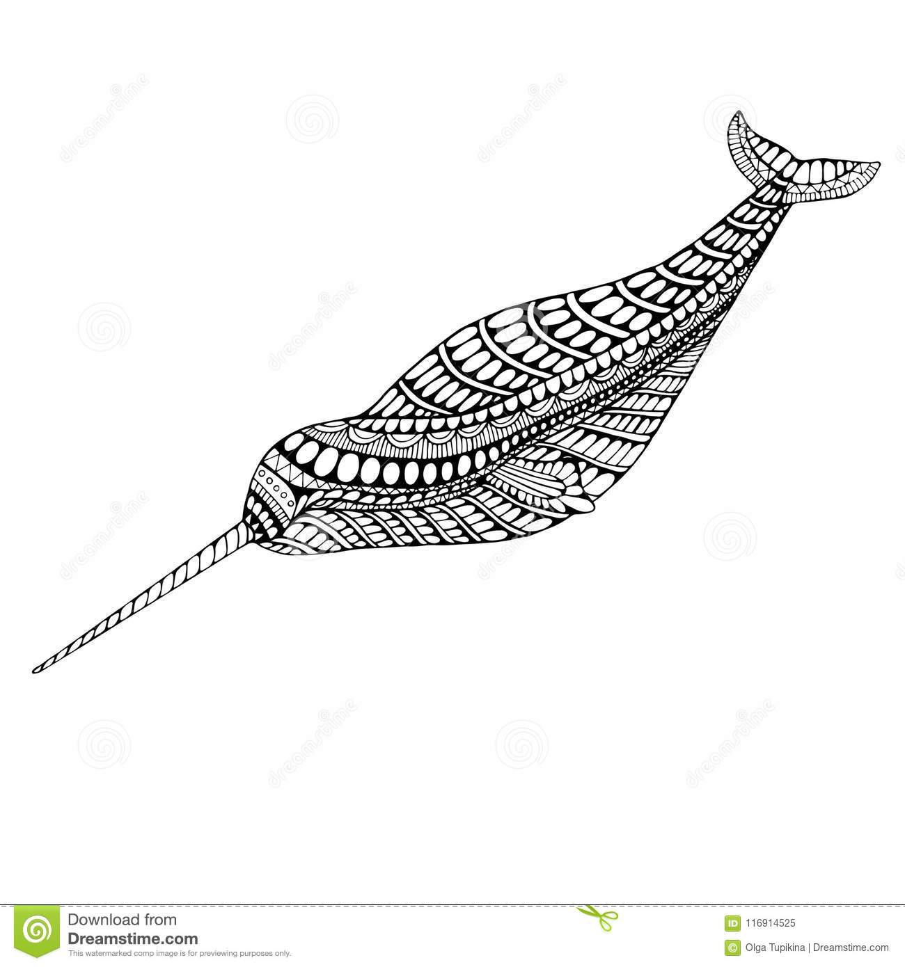 Coloring page narwhal stock vector. Illustration of background ...