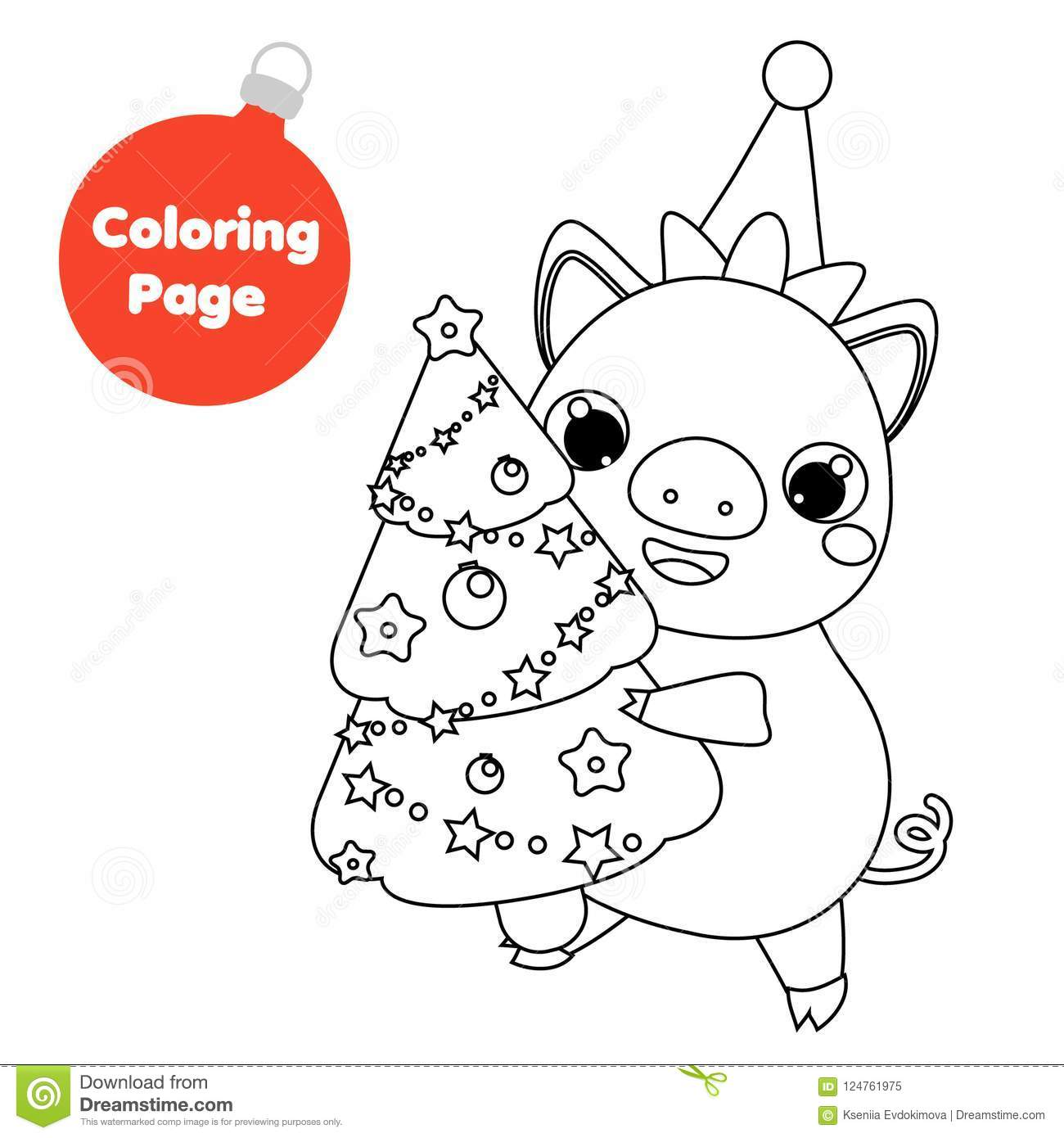 Coloring Page. New Year Pig Holding Christmas Spruce Tree ...