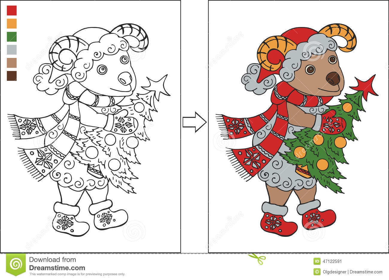 Coloring Page With New Year Ram Stock Vector - Illustration of claus ...