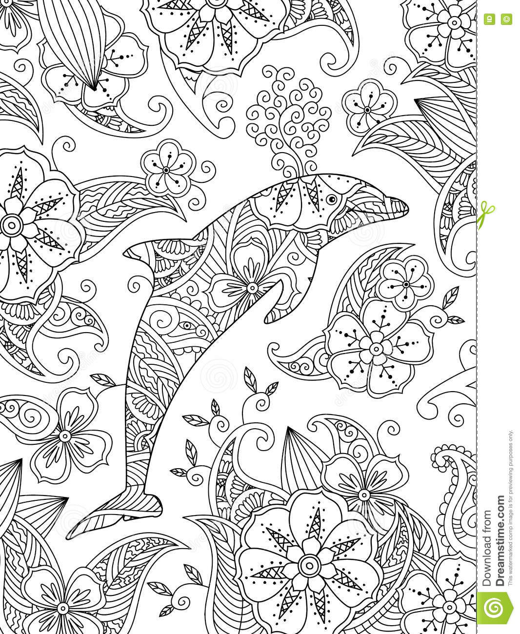 coloring page with one jumping dolphin on floral background stock