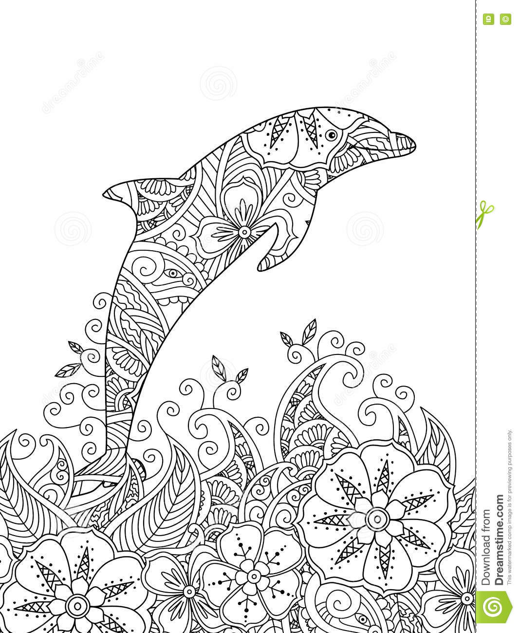 Coloring Page With One Jumping Dolphin In The Sea. Stock Vector ...