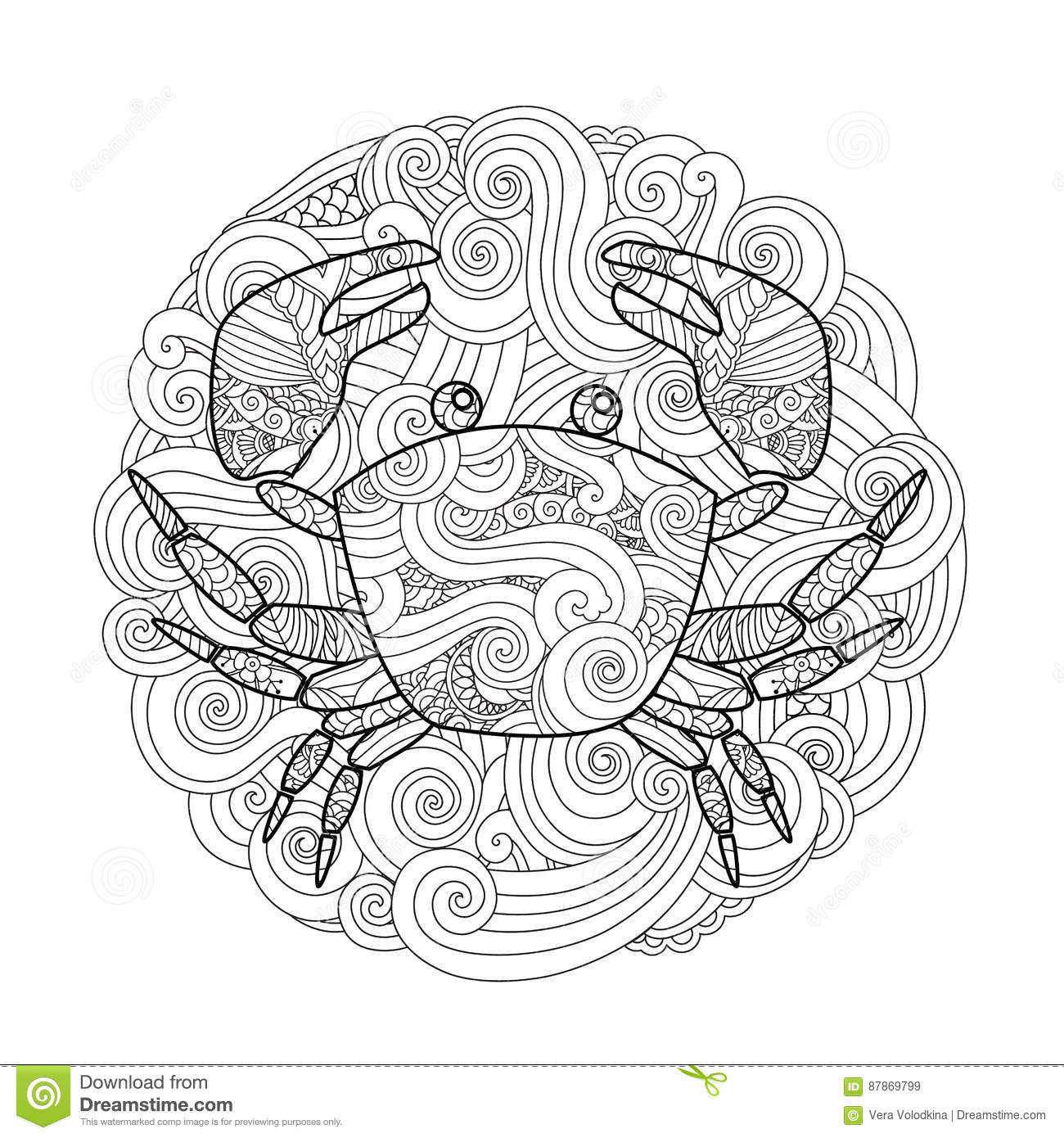 coloring page ornate crab in circle mandala isolated on white