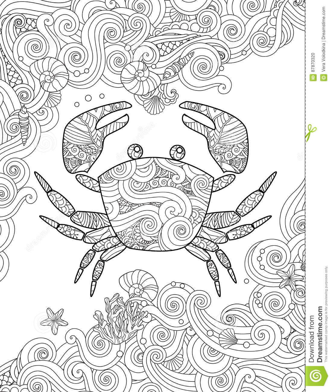 Coloring Page Ornate Crab And Sea Waves Vertical