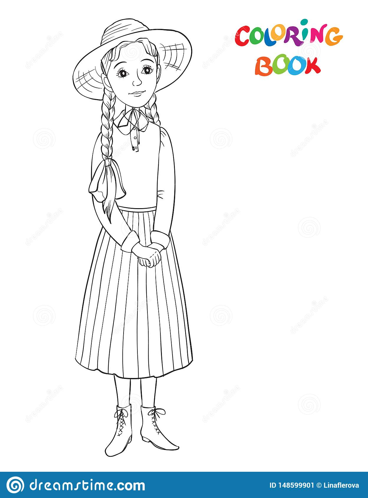 Coloring Page Outline Of Beautiful Girl. Smiling Girl In ...